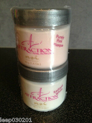 NSI Attraction Acrylic 2 x 40g Pots Purely Pink Masque powder, Radiant White