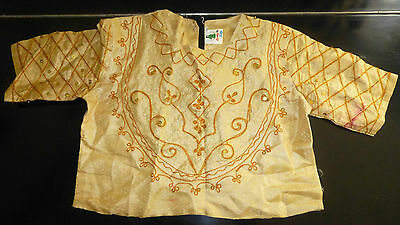 Lovely Traditional Asian Woman's Gold Embroidered Crop Top!