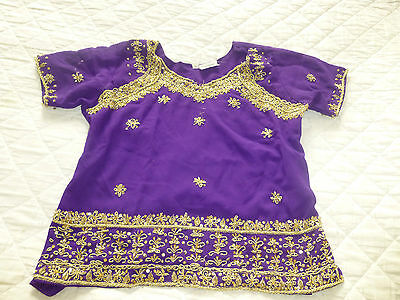 Lovely Violet Top & Matching skirt with Gold Embroidery- Fantastic colour!