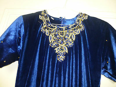 Lovely Blue Velvet Indian Woman's Dress with Gold Embroidery and Sequins!