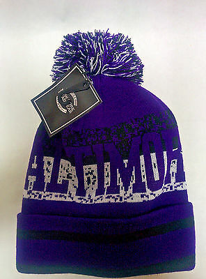 Baltimore Ravens Team Color City Name Pom Pom Knit Beanie Hat with Cuff