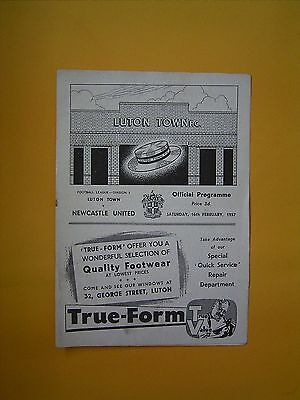 League Division One - Luton Town v Newcastle United - 16th February 1957