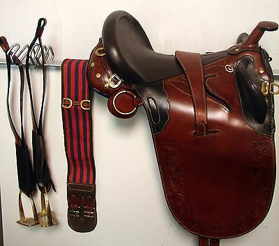 """18"""" Tan/Brown Leather Australian Stock Saddle with Over/Under Girth & Stirrups"""