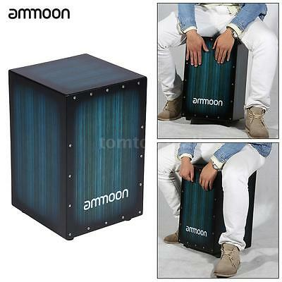 ammoon Wooden Box Drum Cajon Hand Drum Persussion Instrument Zebra Wood B1V7
