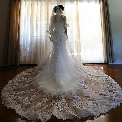 3 M White/Ivory Long Cathedral Length 2 T Lace Bridal Wedding Veil With Comb