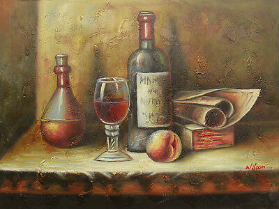 "Bottle of Wine by a Book and Fruit Portrait 12x16"" Oil Painting on Canvas"