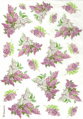 Rice Paper for Decoupage Scrapbooking Vintage Lilac Flowers DFSA4106