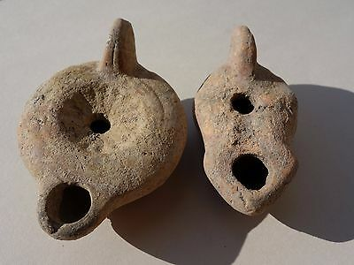 ancient lot of two Roman terracotta oil lamps