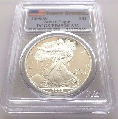 2005-W Proof Silver American Eagle $1 PCGS PF69DCAM FIRST STRIKE **NICE**