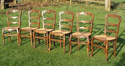 A Super Set Of 6 Good Strong French Beech Louis Xv Style Rush Seat Dining Chairs