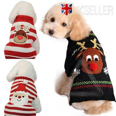 UK Pet Dog Cat Christmas Clothes Santa Claus Costume Outwear Xmas Coat Outfit