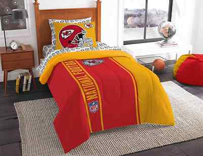 TWIN Kansas City Chiefs COMPLETE BEDDING SET Comforter Sheets 5Pc NFL Bed Bag