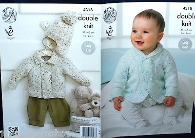Babies Childs Double Knit Easy Knit Jacket & Hat Pattern 16 -26 Inch