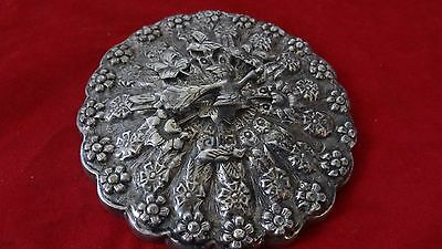 Antique Vintage Persian Islamic Ottoman Highly Decorated Silver Mirror With Bird