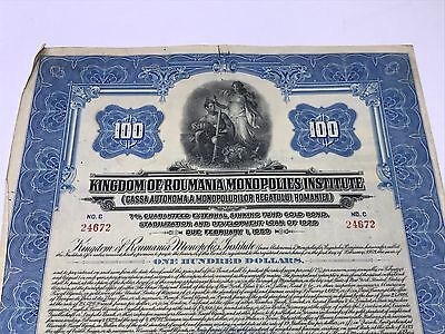 Kingdom Of Roumania Monopolies100$ 1929  Gold Bond With 40 Coupons