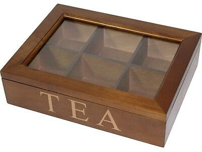Brown Wooden Tea Storage Box for 6 CompartmentS New with small chip or marks