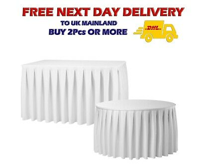 21FT WHITE TABLE SKIRT Polyester Tablecloth Catering Buffet Trade Decor 252''