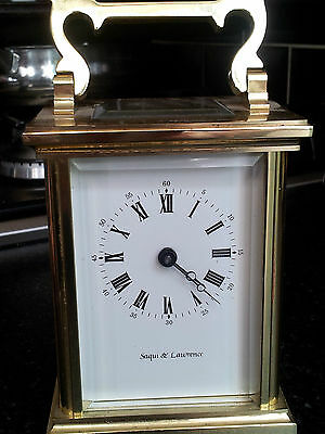 Vintage Brass Carriage Clock By Saqui And Lawrence,11 Jewels London,great Cond