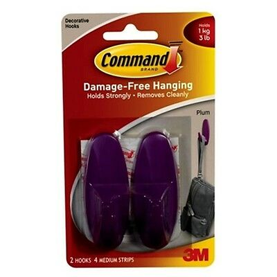 3M COMMAND 17081P | 2 Designer Hooks 4 Medium Strips | PLUM | Holds 1kg