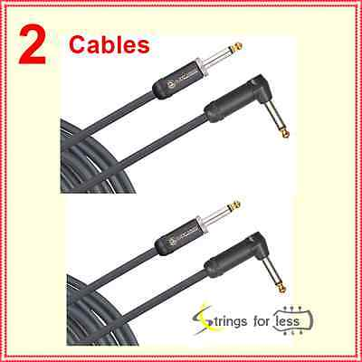 2 x Planet Waves American Stage Instrument Cable - 10', Straight to Right Angle