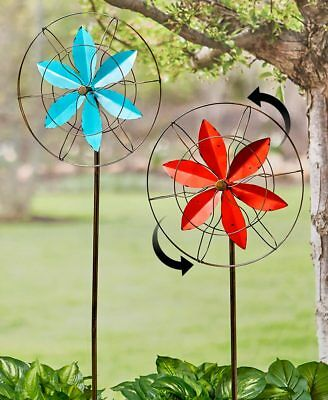 Huge Bronze Garden Wind Spinner Yard Stakes Lawn Butterfly Dragonfly Hummingbird