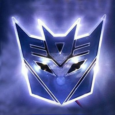 "4"" White LED TRANSFORMERS Decepticon 3D Logo Emblem Badge Car Light"