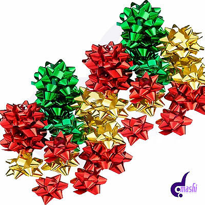 25 x Christmas Gift Bows, Self Adhesive Birthday Gift, Xmas Present, Red & Gold
