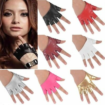 Sexy Women Half Finger PU Leather Gloves Fingerless Driving Show Gloves Palm