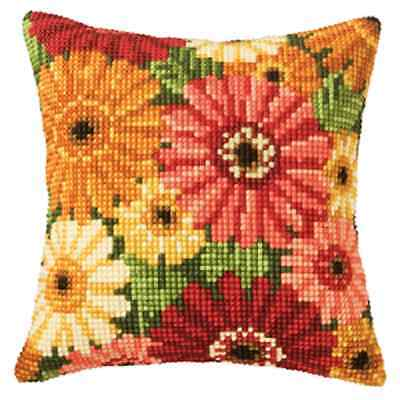 Gerbera -  Large Holed Tapestry Canvas Cushion Kit/Printed Chunky Cross Stitch