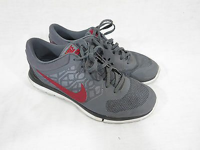 33cbabbc49552 Nike Flex 2015 709022-002 Running Men s Athletic Shoes Size 9.5 Gray  Marron Red