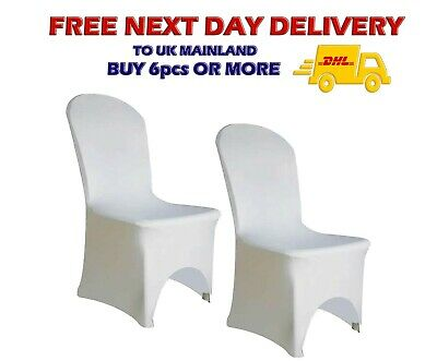 100pcs White Spandex Lycra Chair Cover Wedding Banquet ARCHED FRONT - UK Based