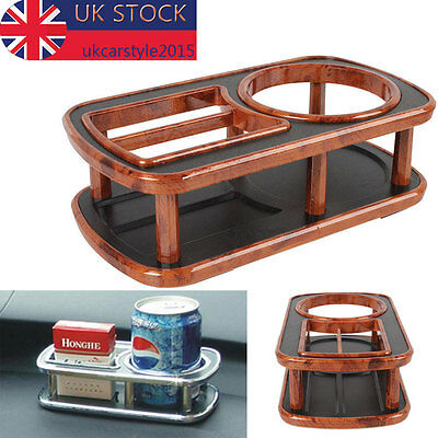1PC Car Auto Dashboard Table Drink Food Double Din Cup Tray Holder Brown UK