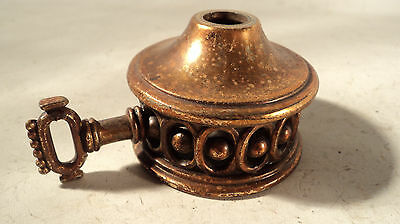 Old antique fancy cast metal lamp light part with key and gallery