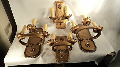 Special 4 Piece Set Solid Brass Sconces Arts Crafts Style