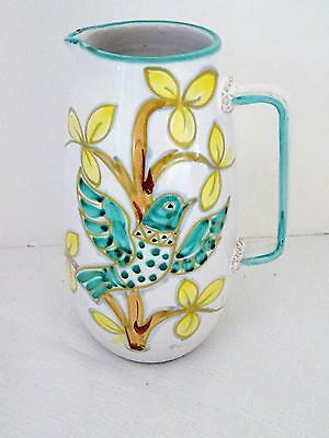 Vintage ITALIAN Ceramic Glazed White Pitcher Bird in Tree (Italy 9012 on Bottom)
