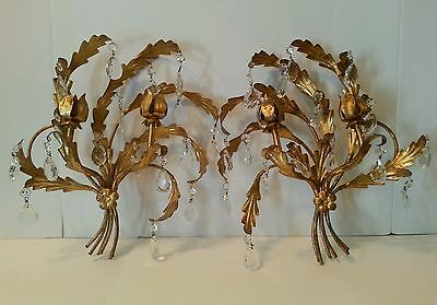 Vintage Pair Italian Tole Gold Gilt Wall Sconces Candle Holder