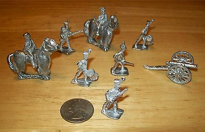 Napoleon Soldiers/Cannon-Rare Minature Lead Soldiers-Set of 8-From Vintage Molds