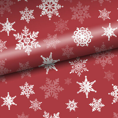 NEW Vandoros Snowflake Red Christmas Wrapping Paper