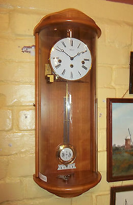 Fine Contemporary Westminster Chiming Curved Glass Bow Fronted Wall Clock Hermle