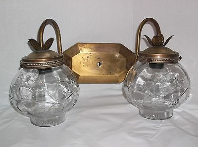 Duel Light Brass finish 2 Ribbed with Designs glass shades Vintage Lighting