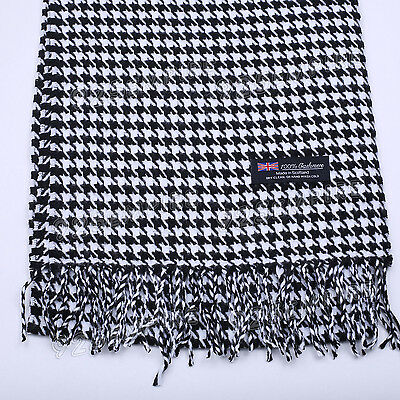 Women's Men's 100% CASHMERE Black/White Houndstooth Scarf MADE IN SCOTLAND