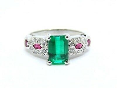 1.74ct.Emerald with Rubies & Diamonds Shoulders Platinum Ring Size N