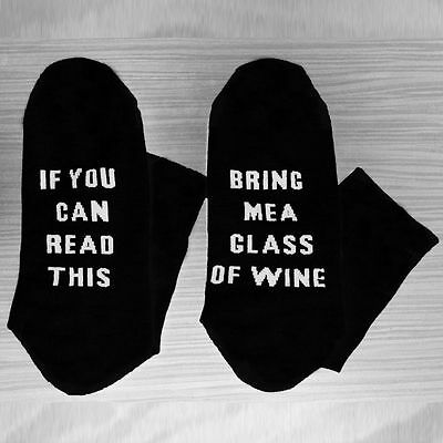 Lots 5Pairs Women Men If You can read this Bring Me a Glass of Wine Black Sock