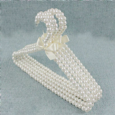 "11.8"" Clothes Hangers White Plastic Kid Children Bow Pearl Beaded  Fashion LEFA"