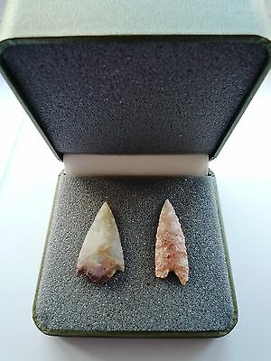 2 x Quality Neolithic Arrowheads in Display Case - 4000BC (L014)