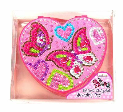 Wholesale Lot Girls x 6 Bling Butterfly Jewellery Box Heart Shaped Pink - NEW