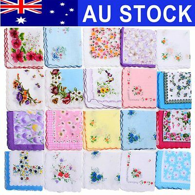AU 20Pcs Floral Flower Cotton Handkerchief Lady Men Women Mocket Wedding Hanky
