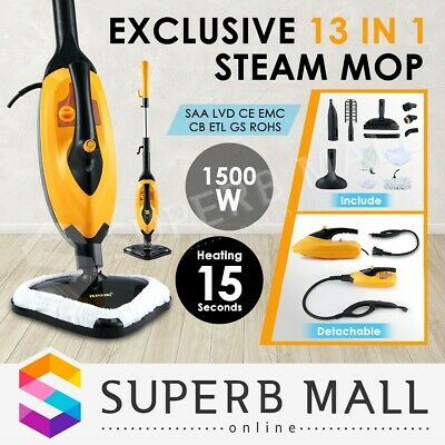 13 in 1 Foldable Steam Mop Cleaner Handheld Steamer Cleaning Floor Carpet 1500W