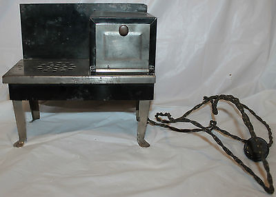 Vtg 1930's Art Deco Black & Chrome Child's Metal Toy Electric Stove Oven WORKS!!