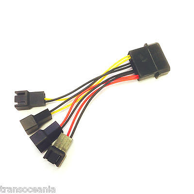 4 Pin Molex to 2 x 12V & 2 x 5V 3 Pin Female PC Case Fan Splitter Power Cable